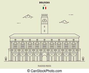 Palazzo del Podesta in Bologna, Italy. Landmark icon in linear style