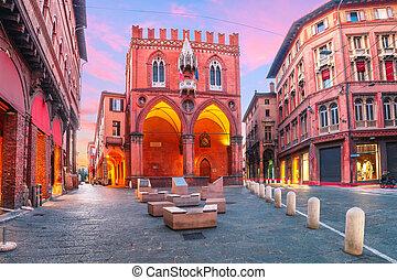 Palazzo della Mercanzia at sunset, Bologna, Italy