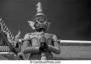 palazzo, demone, bangkok, grande, tailandia, tailandese