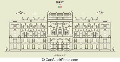 palazzo, italy., punto di riferimento, governo, trieste, icona