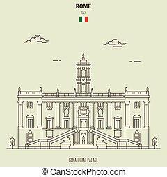 palazzo, italy., senatorial, roma, punto di riferimento, icona