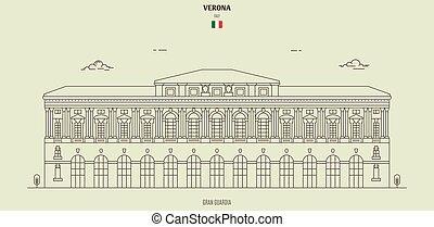 palazzo, italy., verona, guardia, punto di riferimento, gran, icona