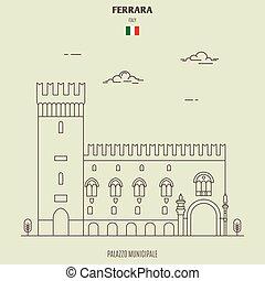 Palazzo Municipale in Ferrara, Italy. Landmark icon in linear style