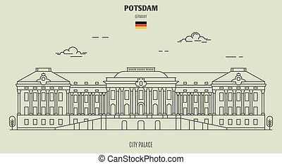 palazzo, potsdam, germany., punto di riferimento, città, icona