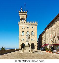 The City hall of San Marino (Palazzo Pubblico) on Piazza della Liberta square, The Republic of San Marino