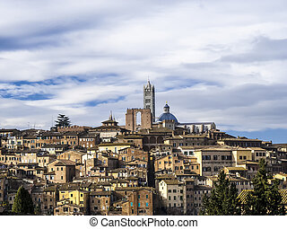 Palazzo Publico and Piazza del Campo in Siena ,Italy , historic center of Siena is a UNESCO World Heritage Site.