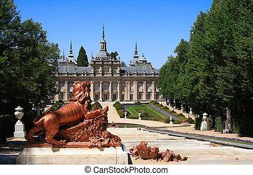 palazzo reale, e, giardini, di, la, granja, de, san,...