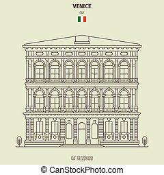 palazzo, rezzonico, venezia, italy., punto di riferimento, icona, ca'