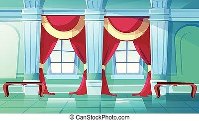 palazzo, sala ballo, reale, illustrazione, salone, vettore, o