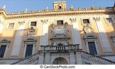 Palazzo Senatorio Frontal View - Tilt up of fountain at the...