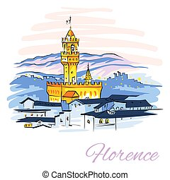 Vector sketch of Famous Arnolfo tower of Palazzo Vecchio on Piazza della Signoria at sunset from Piazzale Michelangelo in Florence, Tuscany, Italy.