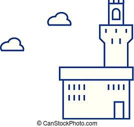Palazzo vecchio line icon concept. Palazzo vecchio flat...