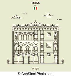 palazzo, venezia, italy., punto di riferimento, oro, icona, ca'