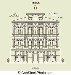 palazzo, venezia, italy., punto di riferimento, pesaro, icona, ca'