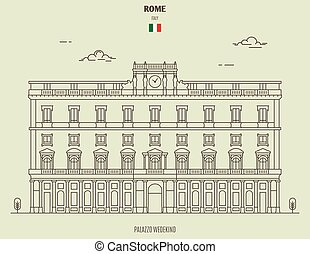 Palazzo Wedekind in Rome, Italy. Landmark icon in linear style