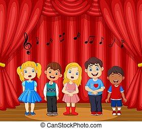 palcoscenico, compiendo, canto, bambini