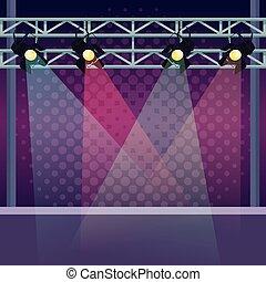 palcoscenico, con, luci