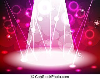 palcoscenico, con, rosa rosso, tono, luci