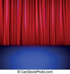 palcoscenico, con, rosso, curtain.