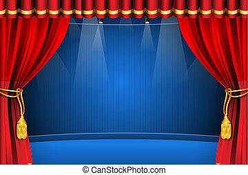 palcoscenico, con, tenda