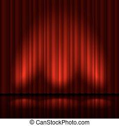 palcoscenico, con, tenda rossa