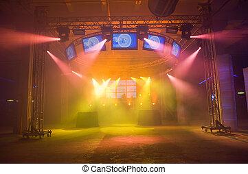 palcoscenico, concerto, vuoto, prima