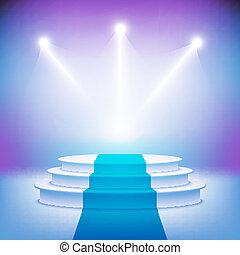 palcoscenico, illuminato, cerimonia, vettore, podio, premio