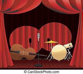 palcoscenico, per, jazz, mostra