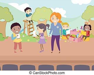 palcoscenico, stickman, prova, bambini, illustrazione