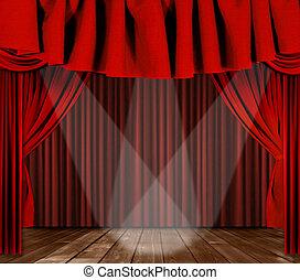 palcoscenico, tendaggio, con, 3, riflettori, messo fuoco,...