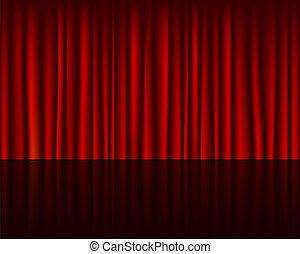 palcoscenico vuoto, con, tenda rossa, seamless, sagoma