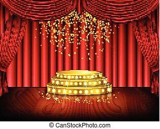 palcoscenico vuoto, con, tenda rossa