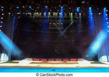 palcoscenico vuoto, concerto, fumo, illuminato