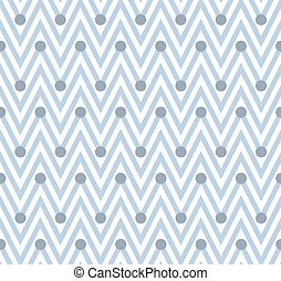 Pale and White Horizontal Chevron Striped with Polka Dots...