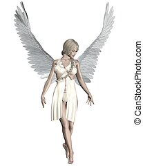 Beautiful female angel with pale skin, blonde hair and white feather wings, 3d digitally rendered illustration