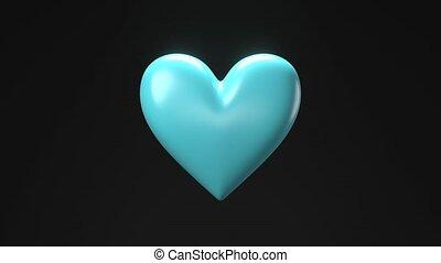 Pale blue broken heart objects in black background. Heart ...