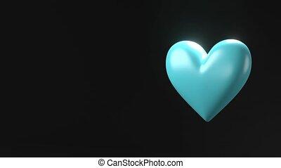 Pale blue broken heart objects in black text space. Heart ...