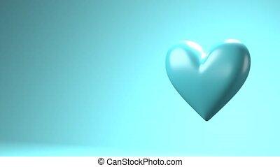 Pale blue broken heart objects in pale blue text space. ...