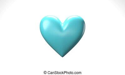 Pale blue broken heart objects in white background. Heart ...