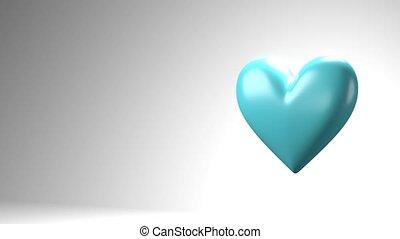 Pale blue broken heart objects in white text space. Heart ...