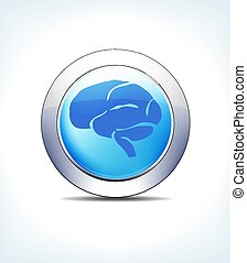 Pale Blue Button Brain, Healthcare & Pharmaceutical Icon, Symbol