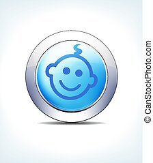 Pale Blue Button Child, Healthcare & Pharmaceutical Icon, Symbol
