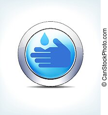 Pale Blue Button Corrosive Sign, Healthcare & Pharmaceutical Icon, Symbol