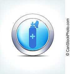 Pale Blue Button Gas & Air Cylinder, Healthcare & Pharmaceutical Icon, Symbol