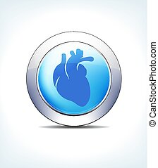 Pale Blue Button Heart, Cardiology, Healthcare & Pharmaceutical Icon, Symbol