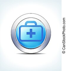Pale Blue Button Medical Bag, Kit, First Aid, Healthcare & Pharmaceutical Icon, Symbol