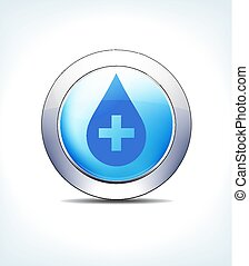 Pale Blue Button Medicine with Medical Cross, Healthcare & Pharmaceutical Icon, Symbol