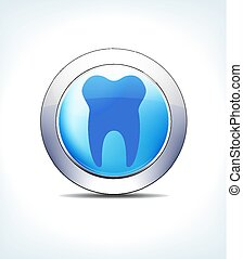 Pale Blue Button Teeth, Dentist, Tooth, Healthcare & Pharmaceutical Icon, Symbol