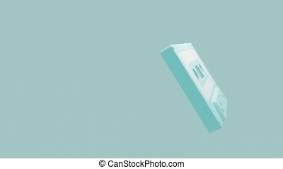 Pale blue cassette tape isolated on a blue text space.Loop ...