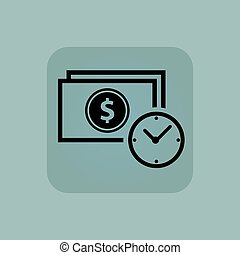 Pale blue dollar time icon